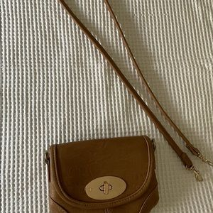 Small tan and gold cross body bag/wallet
